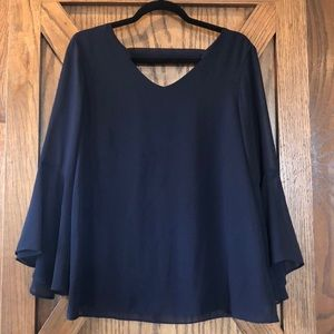 Navy Top with Sheer Bell Sleeves